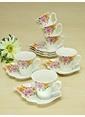Mizzy Home Bone Porselen  6 Lı Yaprak Kahve Fincan Takımı Renkli